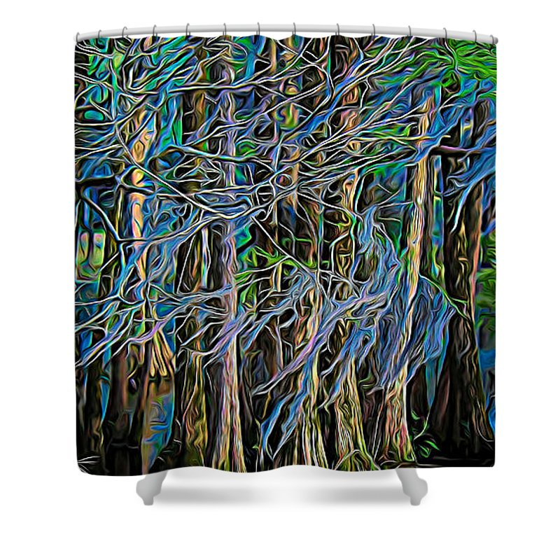 Trees Shower Curtain featuring the photograph Dancing Trees by Paulette Thomas