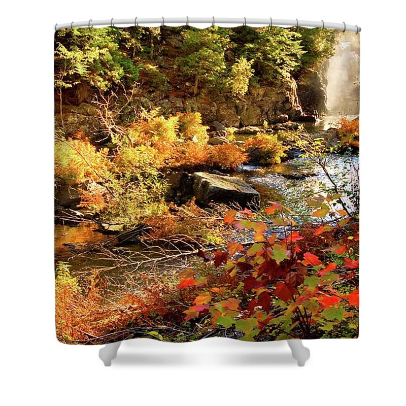 Dead River Falls Shower Curtain featuring the photograph Dead River Falls Marquette Michigan by Michael Bessler