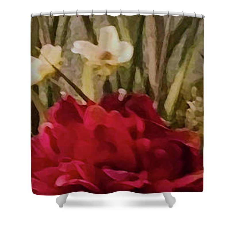 Mixedmedia Shower Curtain featuring the mixed media Decorative Mixed Media Floral A3117 by Mas Art Studio