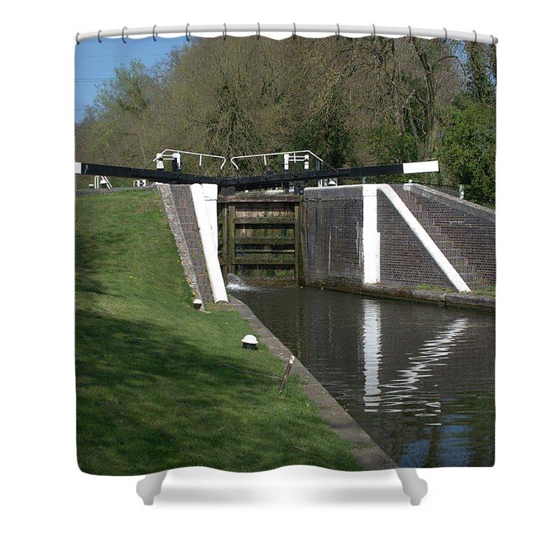 Denham Deep Lock Shower Curtain featuring the photograph Denham Deep Lock by Chris Day