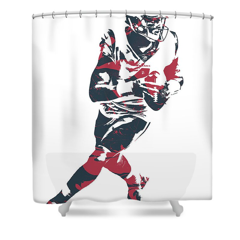 Deshaun Watson Shower Curtain Featuring The Mixed Media Houston Texans Pixel Art 2 By