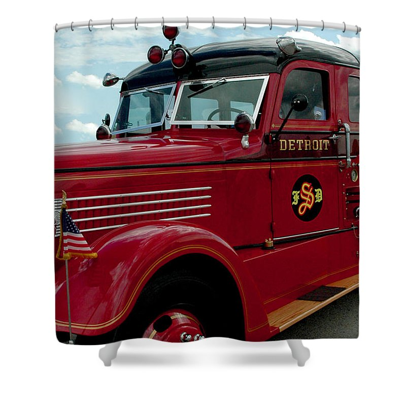 Detroit Fire Truck Shower Curtain For Sale By LeeAnn McLaneGoetz McLaneGoetzStudioLLCcom