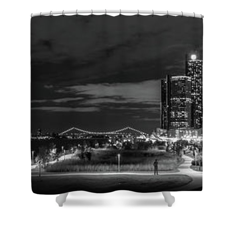 Detroit Shower Curtain featuring the photograph Detroit River Walk Panorama by Michael Tucker