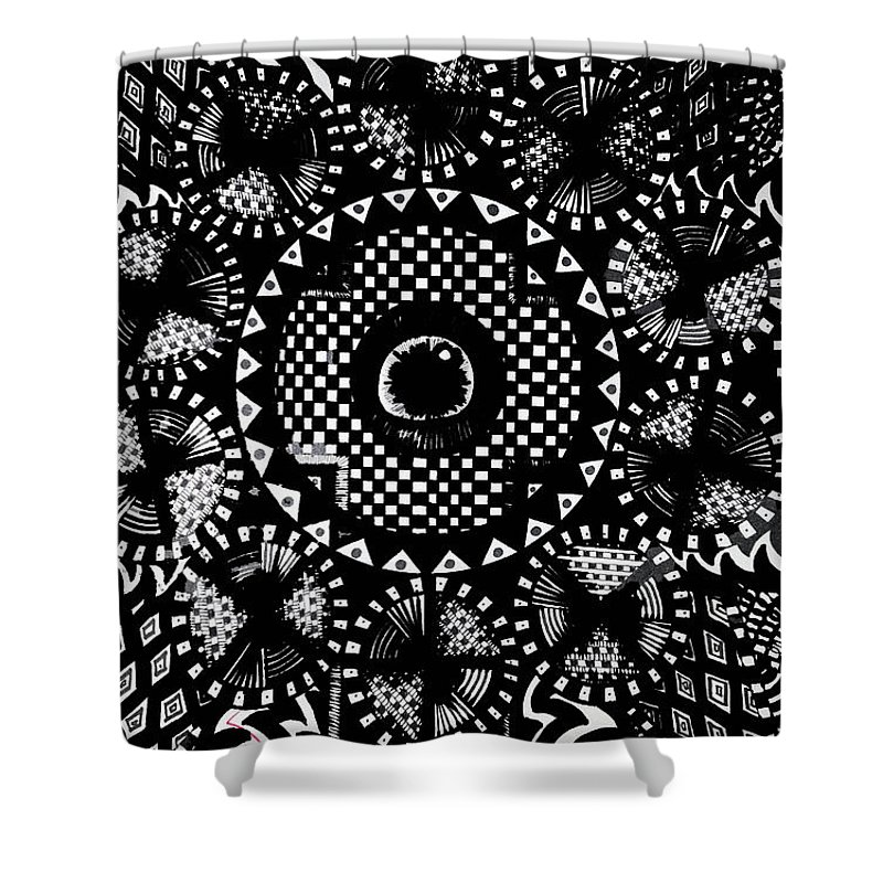 Art Shower Curtain featuring the drawing Doodles 2 by Nour Refaat