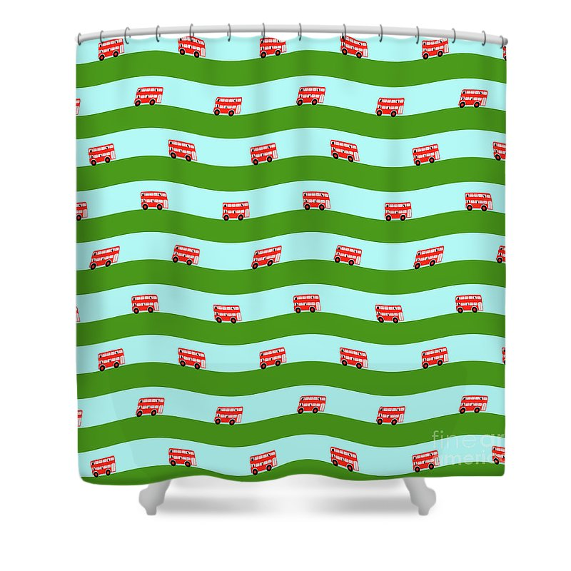 Tags Shower Curtain featuring the digital art Double Decker Bus by Richard Wareham