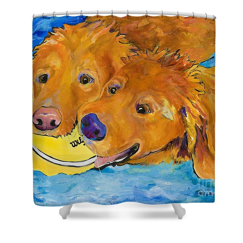 Golden Retriever Shower Curtain featuring the painting Double Your Pleasure by Pat Saunders-White