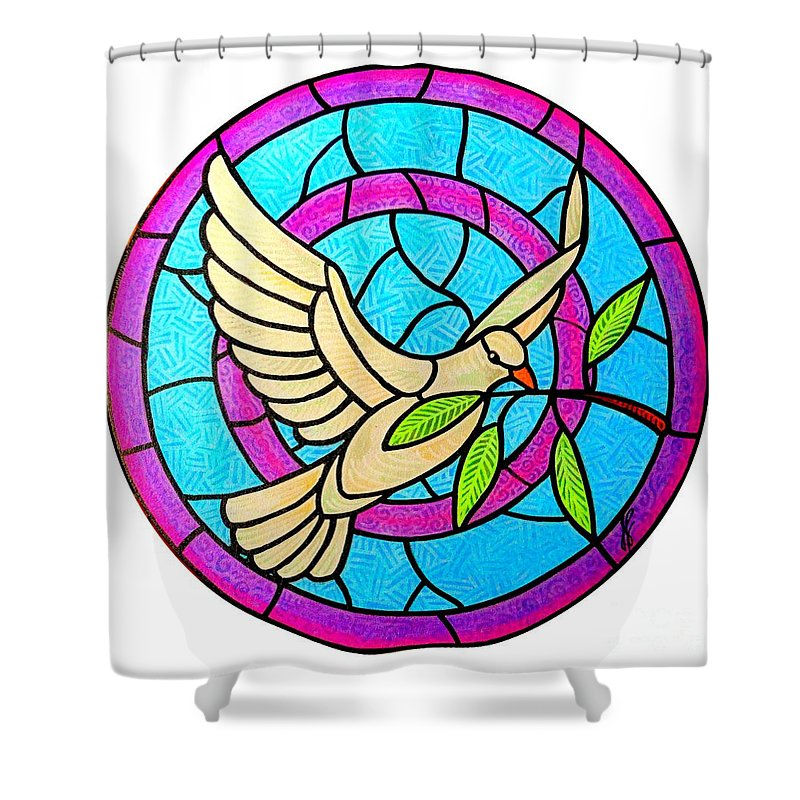 Peace Shower Curtain featuring the painting Dove Of Peace by Jim Harris