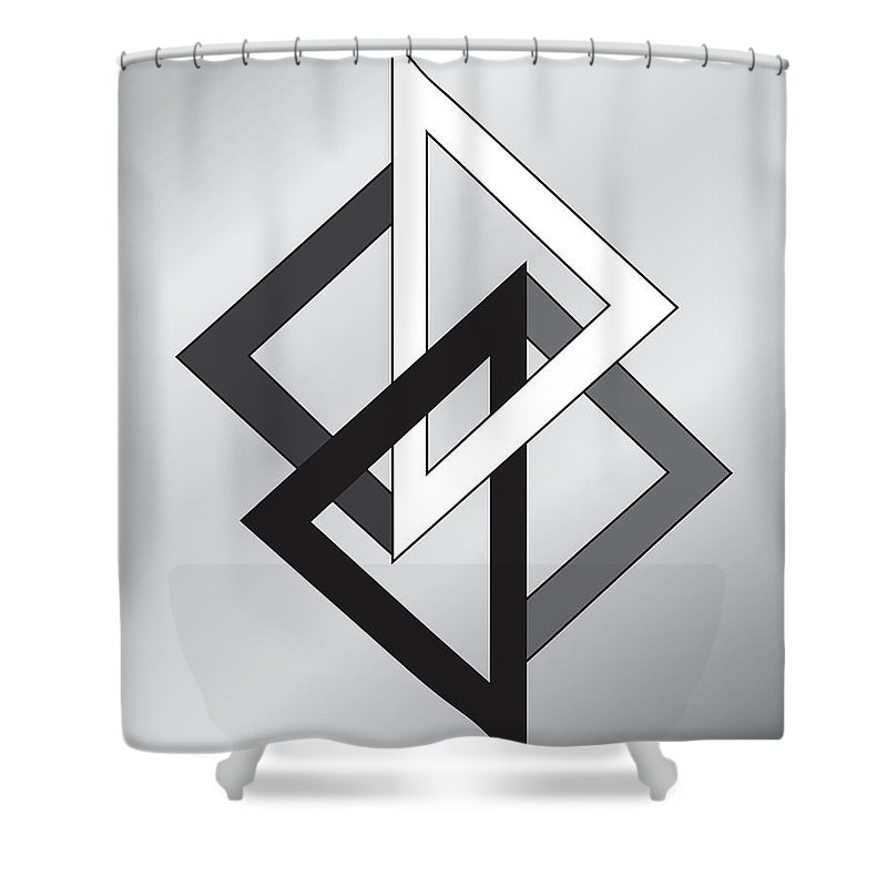 Illustration Shower Curtain featuring the drawing Drawn2shapes1bnw by Maggie Mijares