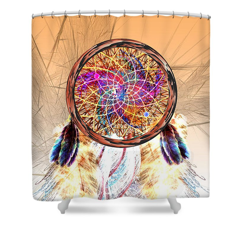 Native American Shower Curtain Featuring The Digital Art Dream Catcher By Carol And Mike Werner