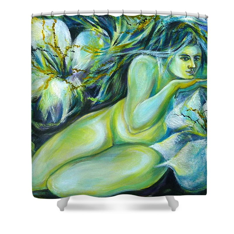 Fantasy Art Shower Curtain featuring the painting Dreaming Flower by Anna Duyunova