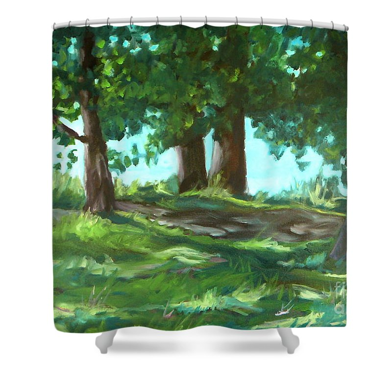 Expressionist Landscape Shower Curtain featuring the painting Dreaming On Fellows Lake by Jan Bennicoff