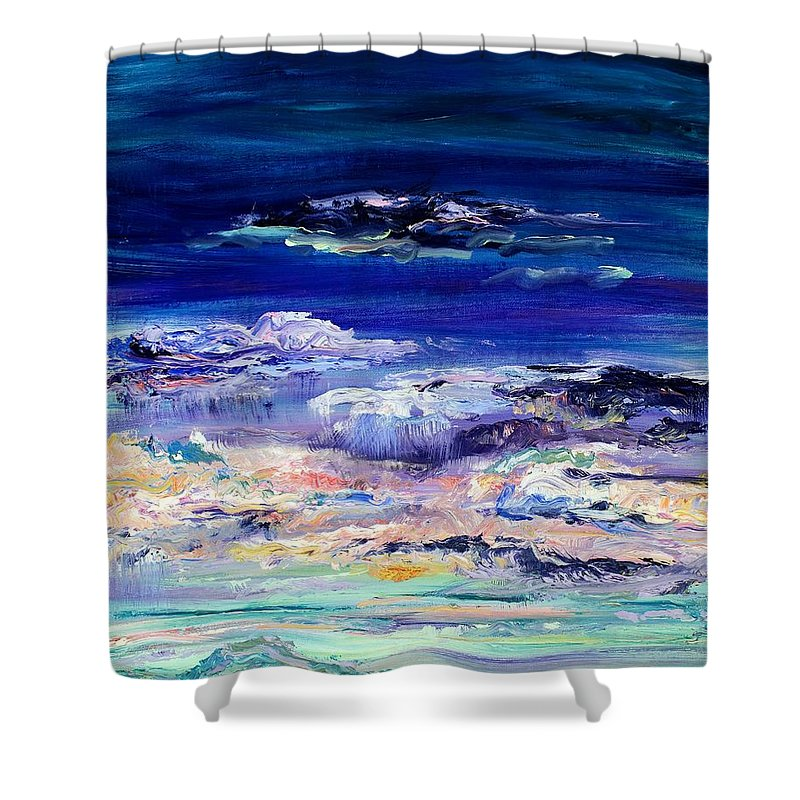 Dusk Shower Curtain featuring the painting Dusk Imagining by Regina Valluzzi