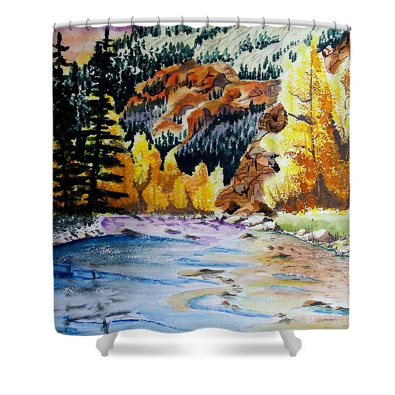 Creek Shower Curtain featuring the painting East Clear Creek by Jimmy Smith