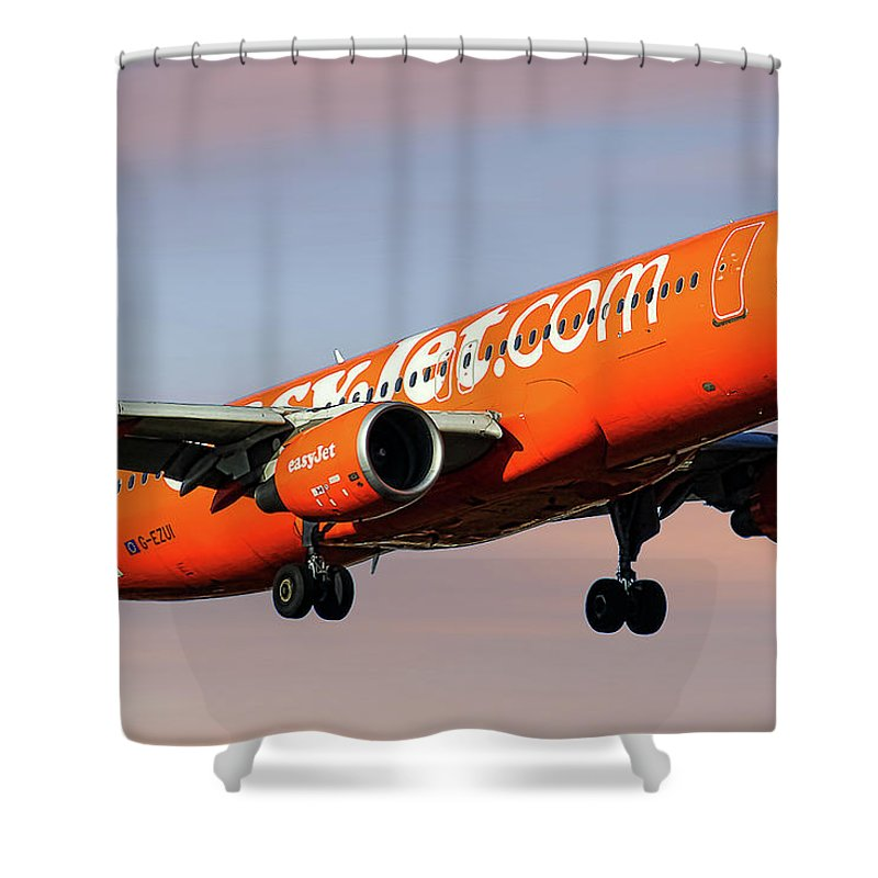 Easyjet Mixed Media Shower Curtains