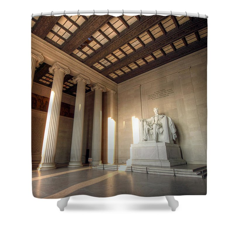 Lincoln Memorial Shower Curtain featuring the photograph Echoes Of Liberty by Mitch Cat