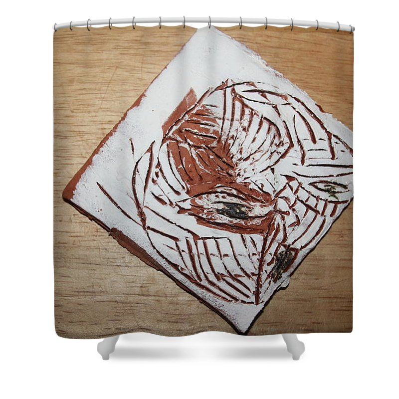 Jesus Shower Curtain featuring the ceramic art Edith - Tile by Gloria Ssali