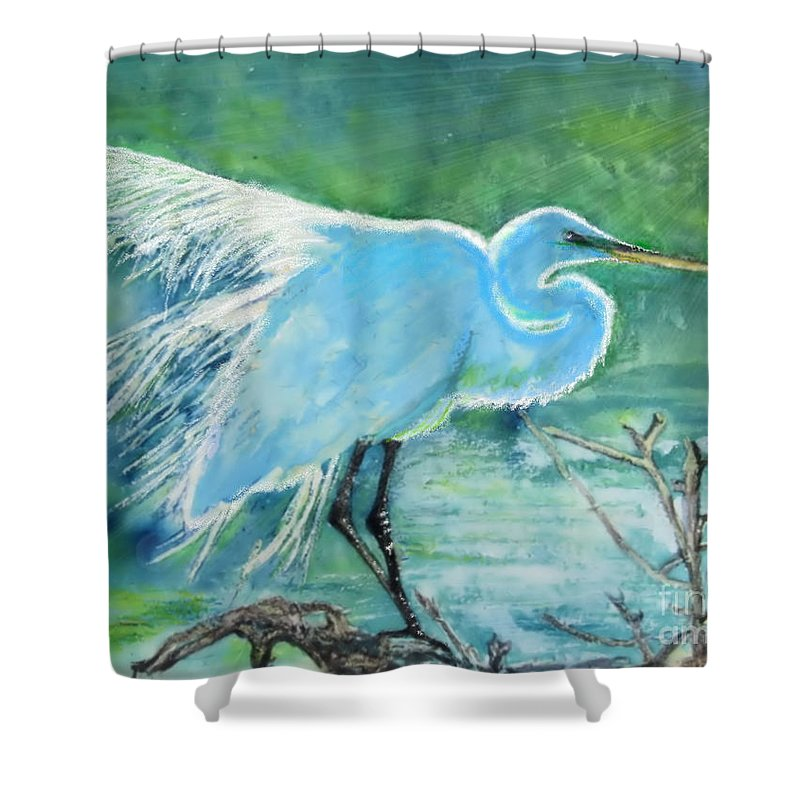 Egret Shower Curtain featuring the painting Egret In The Summer Breeze by Dawn Johansen