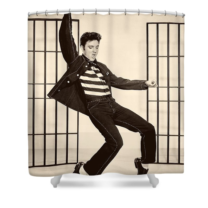 Publicity Photo Shower Curtain Featuring The Photograph Elvis Presley In Jailhouse Rock 1957 By Mountain Dreams