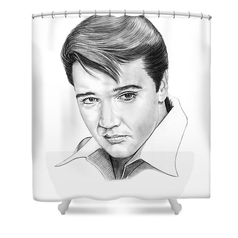 Portrait Shower Curtain featuring the drawing Elvis Presley by Murphy Elliott