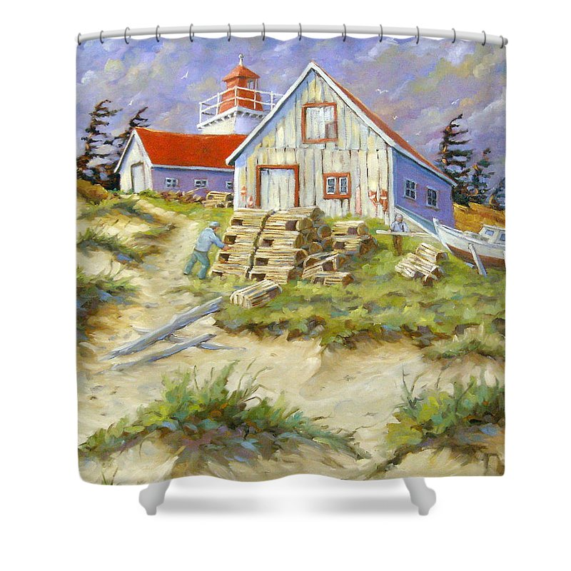 Art Shower Curtain featuring the painting End Of Lobster Season by Richard T Pranke