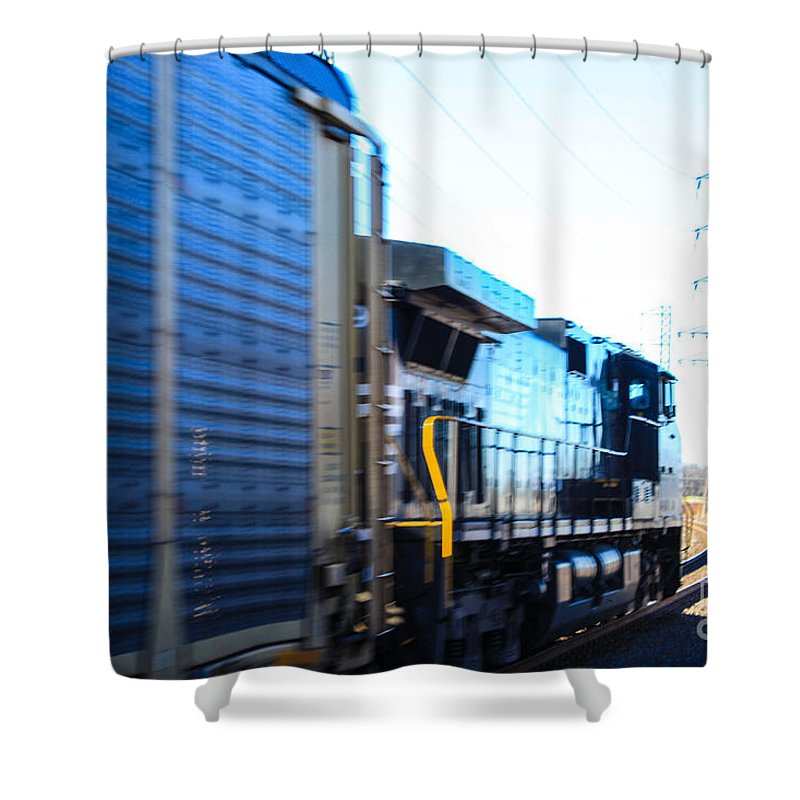 Norfolk Southern Engine Streaming Bye The Bound Brook Station In New Jersey. Shower Curtain featuring the photograph Engine by William Rogers