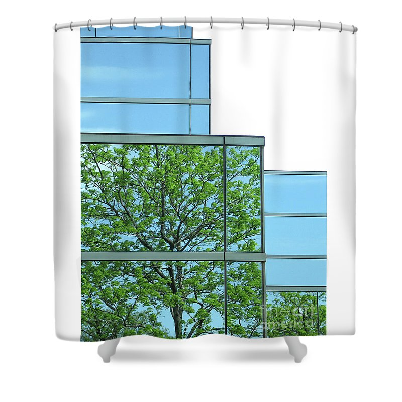 Trees Shower Curtain featuring the photograph Environment Reflected by Ann Horn