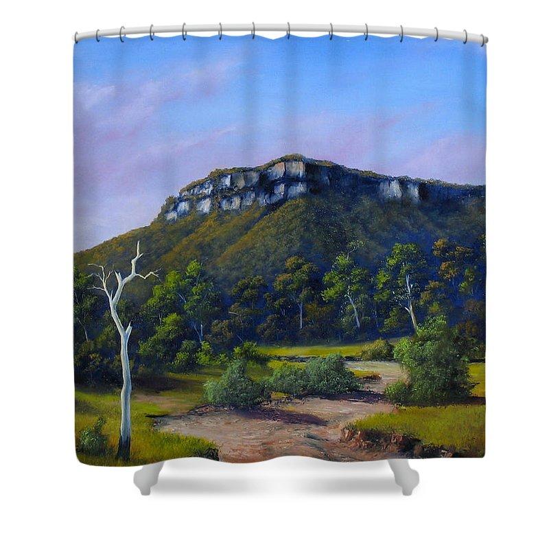 Escarpment Shower Curtain featuring the painting Escarpment Road by John Cocoris