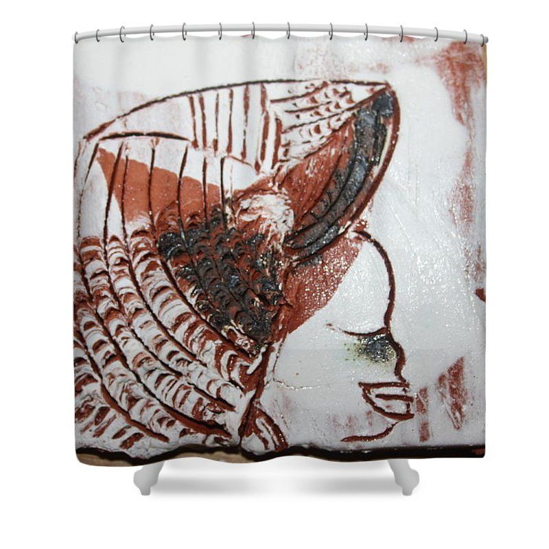 Jesus Shower Curtain featuring the ceramic art Eugenie - Tile by Gloria Ssali
