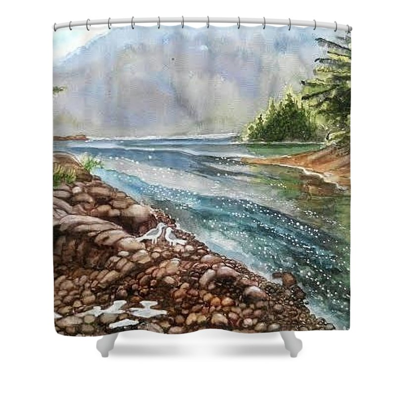 River Shower Curtain featuring the painting Evening By The River by Ramesh Mahalingam