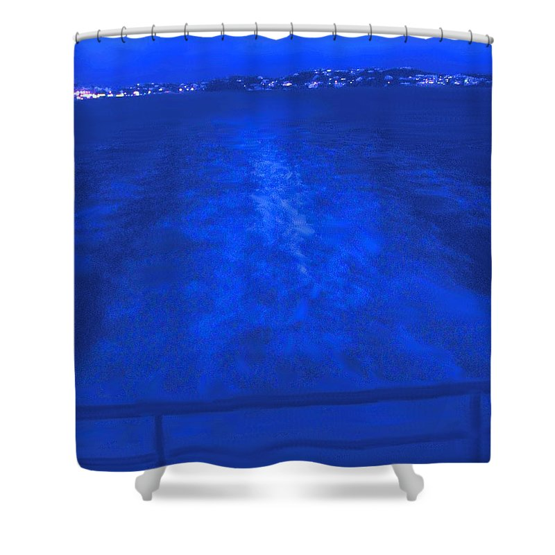 Bermuda Shower Curtain featuring the photograph Evening Fast Ferry by Ian MacDonald