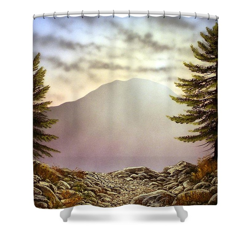 Mountains Shower Curtain featuring the painting Evening Trail by Frank Wilson