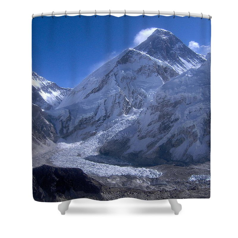 Everest Shower Curtain featuring the photograph Everest Base Camp by Chris Bradley