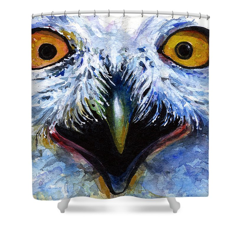 Eye Shower Curtain featuring the painting Eyes Of Owls No. 15 by John D Benson