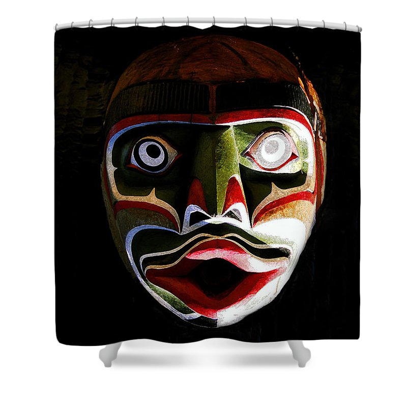 Totem.face Shower Curtain featuring the painting Face Of Totem by David Lee Thompson