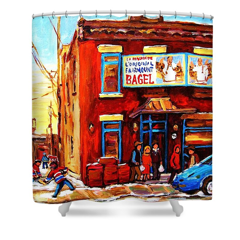 Hockey Shower Curtain featuring the painting Fairmount Bagel In Winter by Carole Spandau