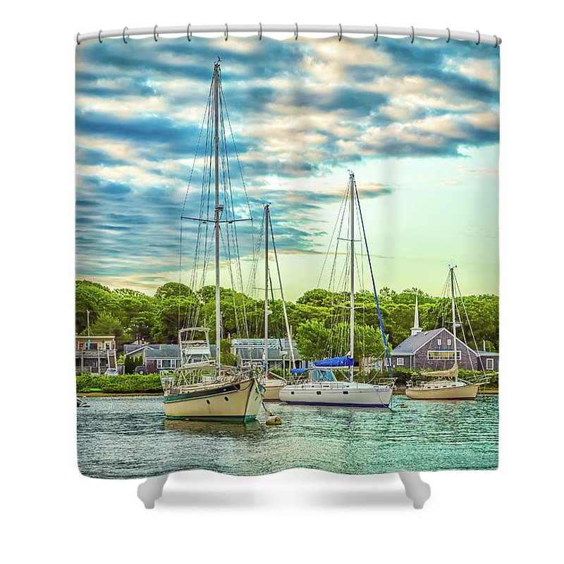 Cape Cod Shower Curtain Featuring The Photograph Falmouth Harbor By Gestalt Imagery