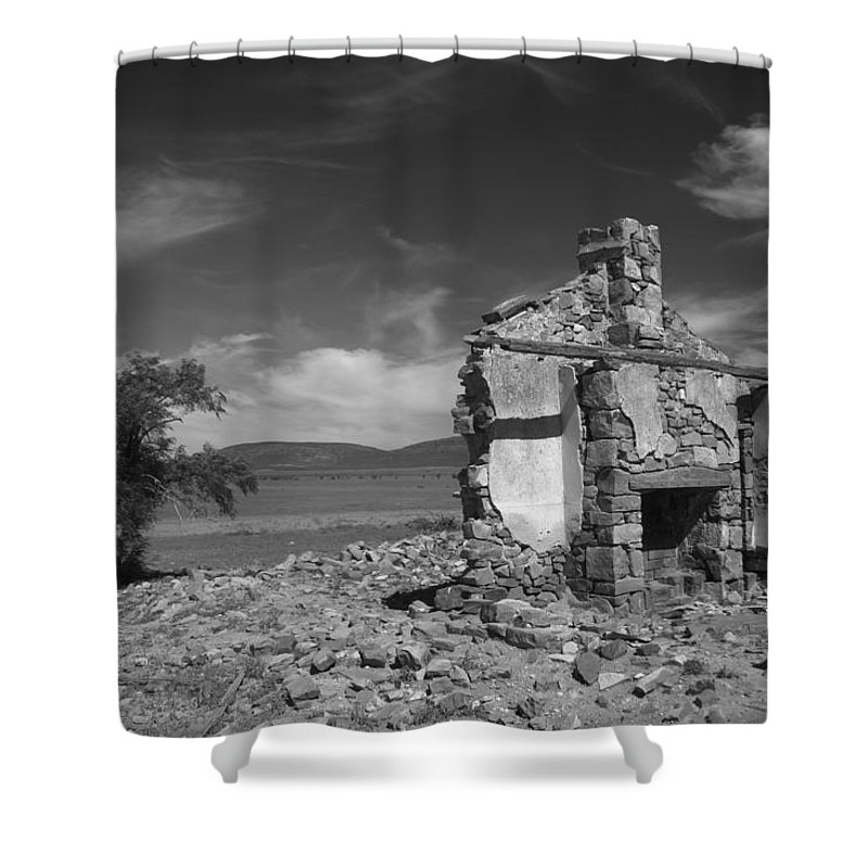 Cottage Shower Curtain featuring the photograph Farmhouse Cottage Ruin Flinders Ranges South Australia by Ralph A Ledergerber-Photography