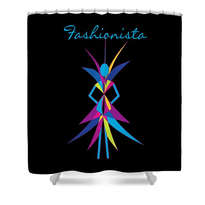Fashionista Shower Curtain featuring the digital art Fashionista by Methune Hively