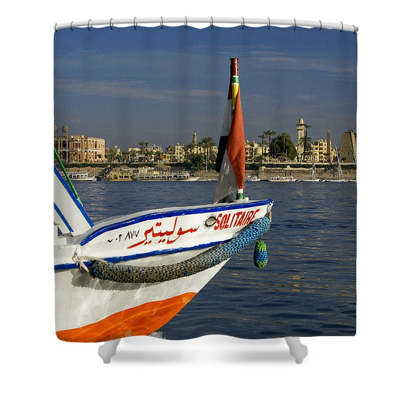 Egypt Shower Curtain featuring the photograph Felucca On The Nile by Michele Burgess