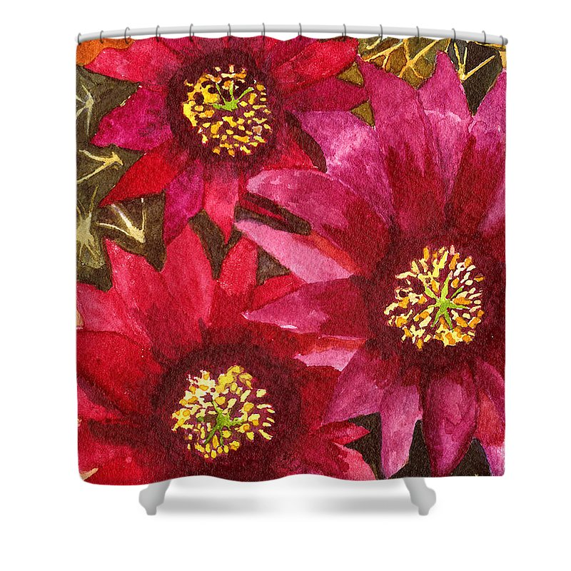 Cactus Shower Curtain featuring the painting Fendlers Hedgehog by Eric Samuelson