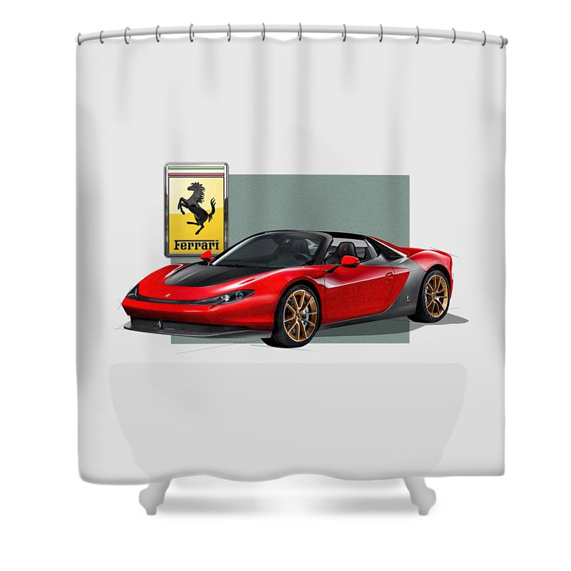 �ferrari� Collection By Serge Averbukh Shower Curtain featuring the photograph Ferrari Sergio with 3D Badge by Serge Averbukh