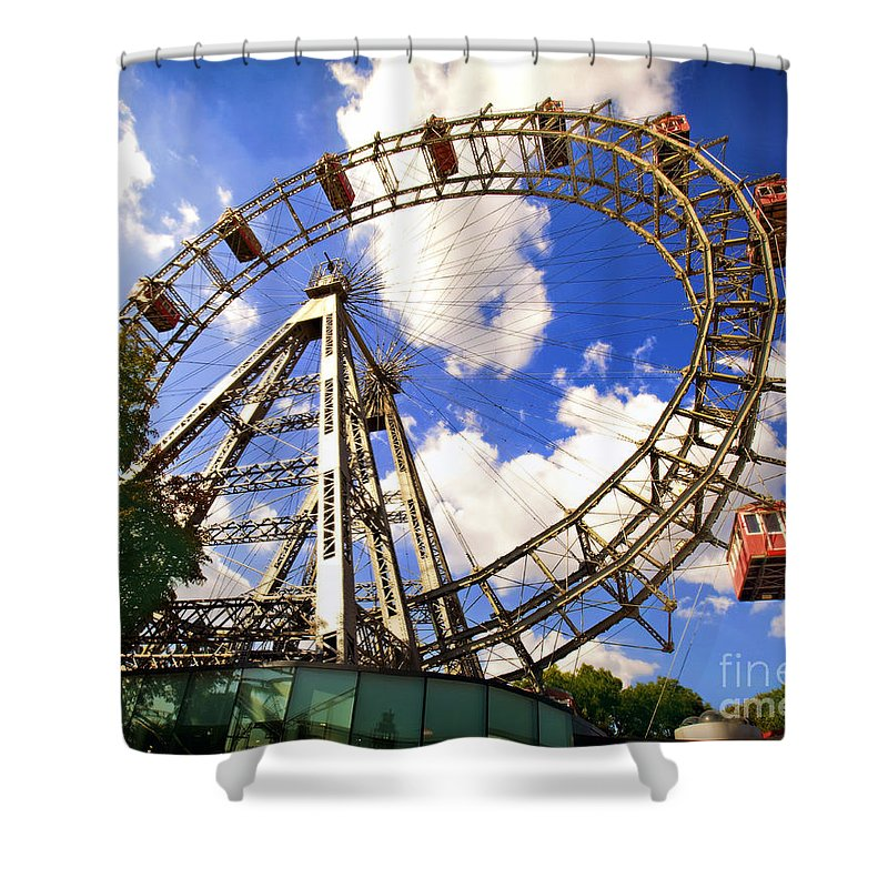 Ferris Wheel Shower Curtain featuring the photograph Ferris Wheel At The Prater by Madeline Ellis