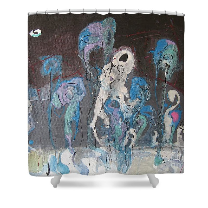 Fiddleheads Paintings Shower Curtain featuring the painting Fiddleheads 3 by Seon-Jeong Kim