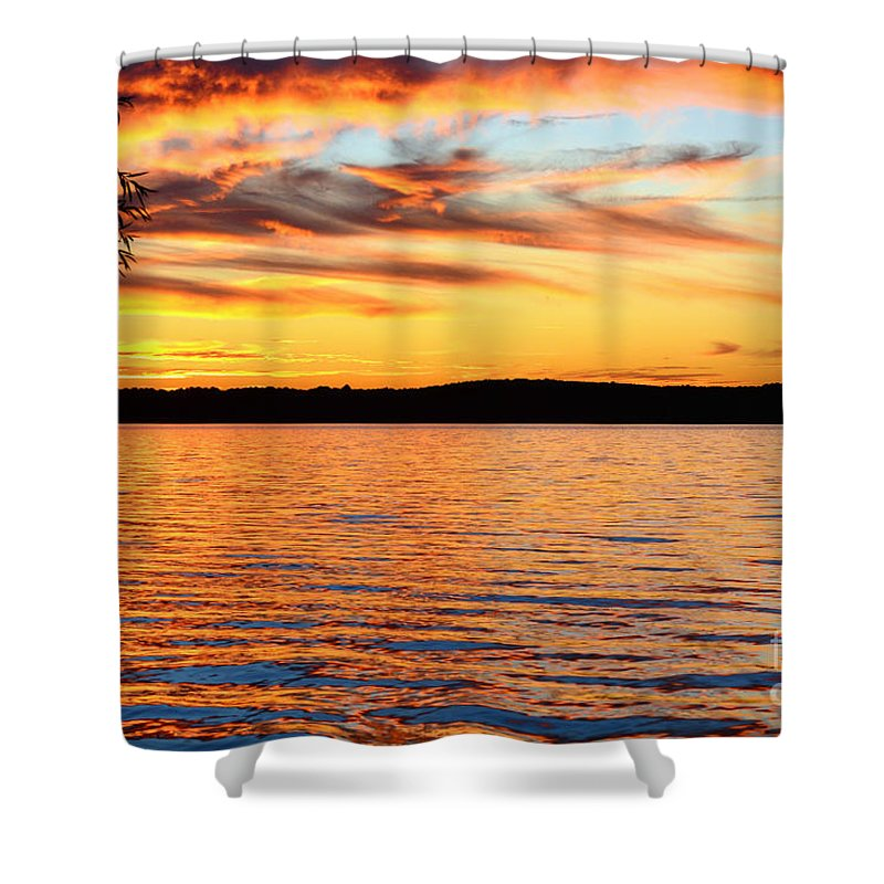 Sunset Shower Curtain featuring the photograph Fiery Sunset by Kelly Nowak