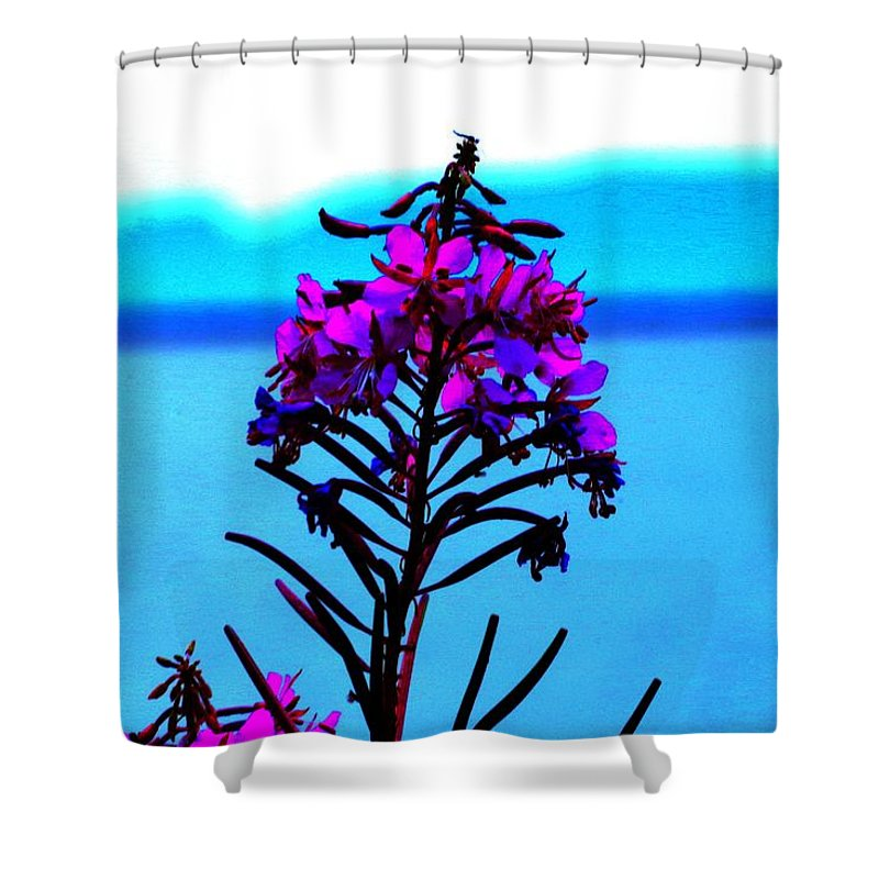 Fireweed Shower Curtain featuring the digital art Fireweed by Tim Beebe