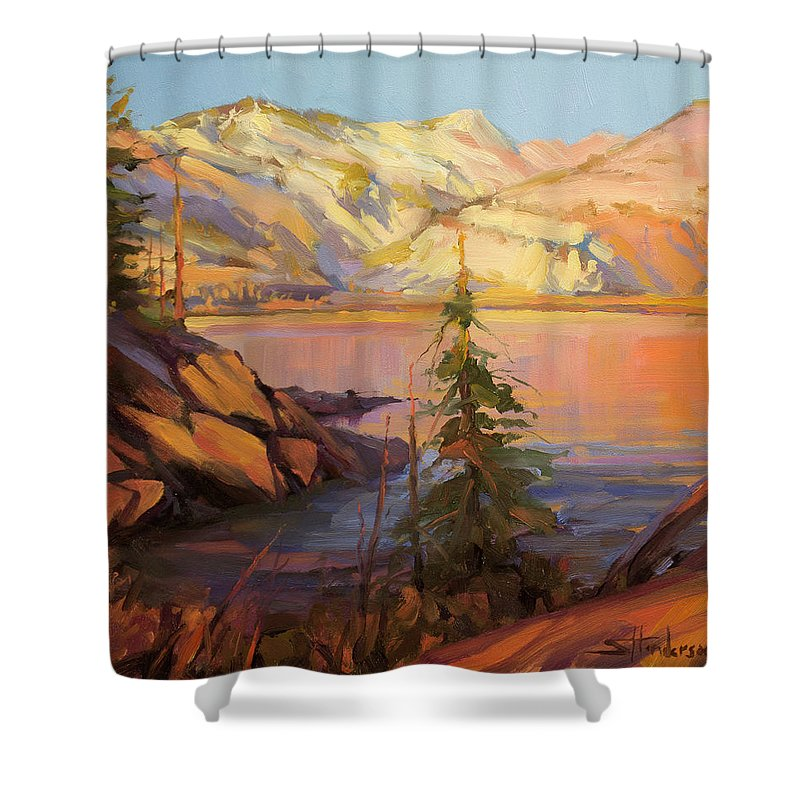 Wilderness Shower Curtain featuring the painting First Light by Steve Henderson