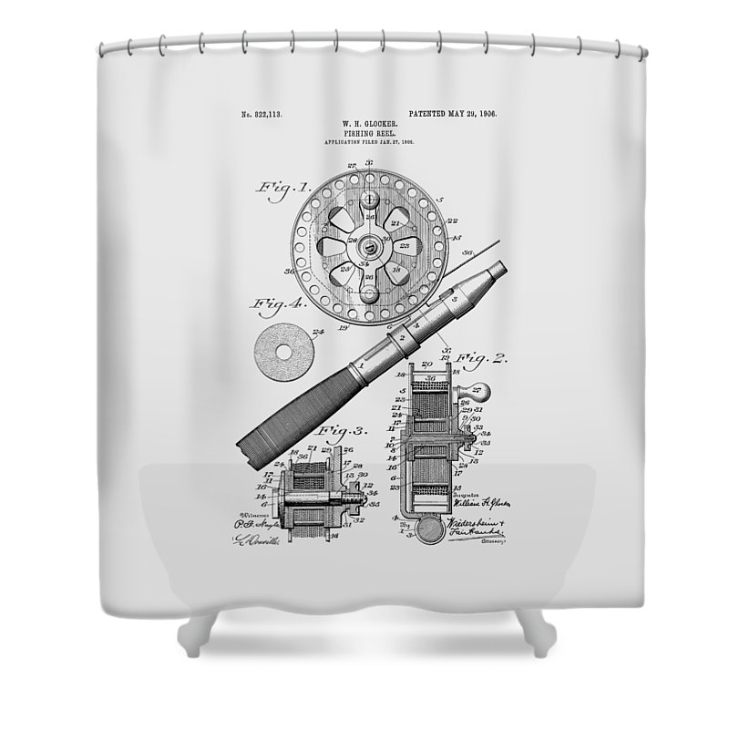 Fishing Reel Shower Curtain featuring the photograph Fishing Reel Patent 1906 by Chris Smith