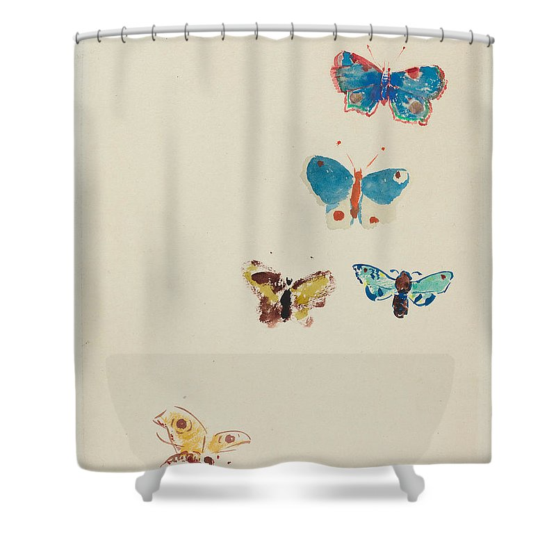 Odilon Redon Shower Curtain featuring the painting Five Butterflies by Odilon Redon