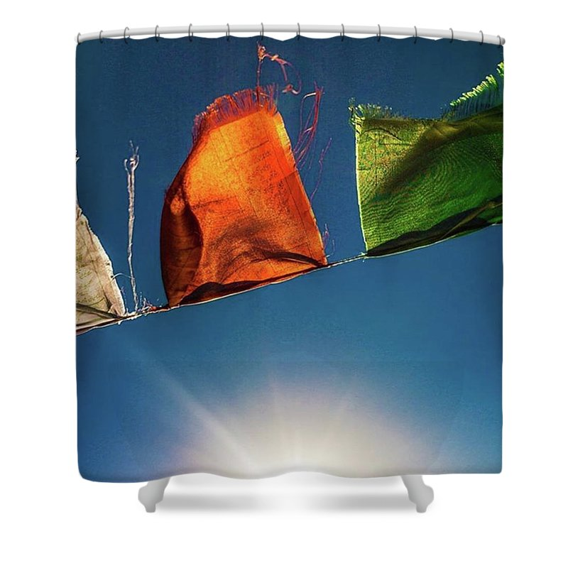 Tibettan Shower Curtain featuring the photograph Flags by Aleck Cartwright