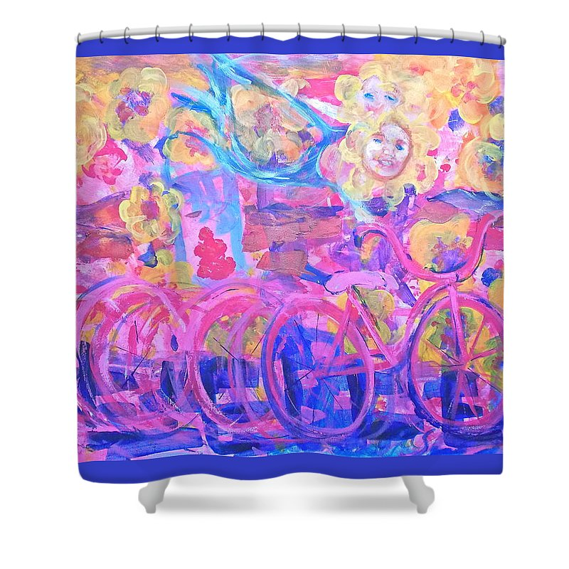 Abstract Impressionism Playfully Colorful Flowers Flying Bike Rider Shower Curtain featuring the painting Fleeting Youth by Thomas Dudas